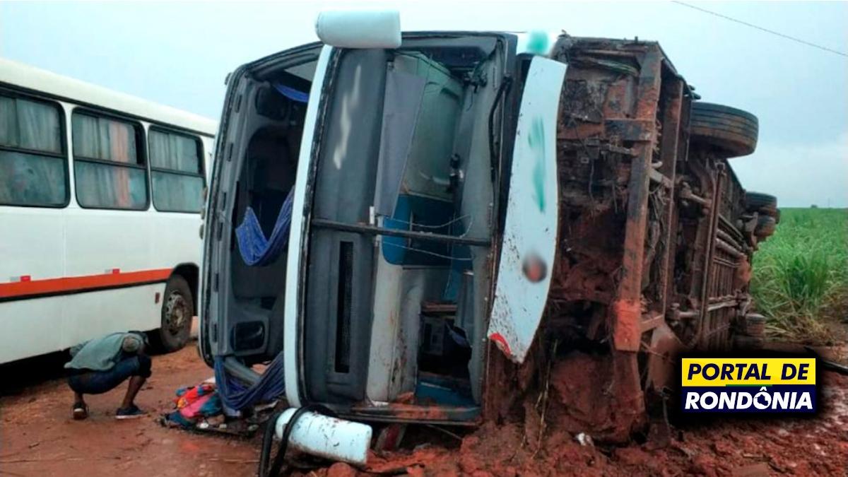 Ônibus da Eucatur que saiu de Ji-Paraná tomba e deixa mais de 30 feridos