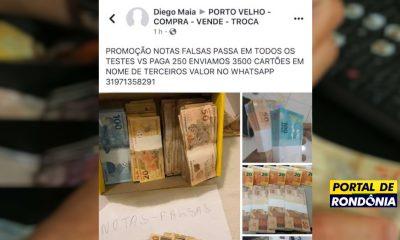 Criminosos anunciam venda de cédulas de dinheiro falsas em grupos do Facebook