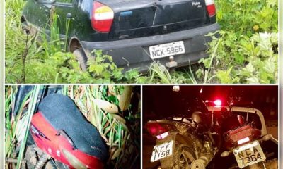 Polícia Militar recupera carro e três motocicletas roubadas e prende um foragido