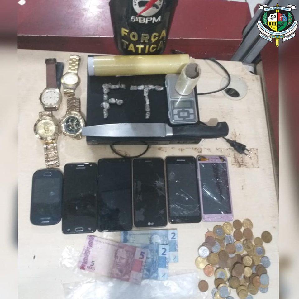 Polícia Militar apreende vários celulares, relógios e drogas no residencial Orgulho do Madeira