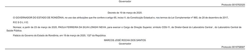 Nora do Deputado Ezequiel Neiva é nomeada como diretora do Laboratório que está fazendo os exames do COVID-19