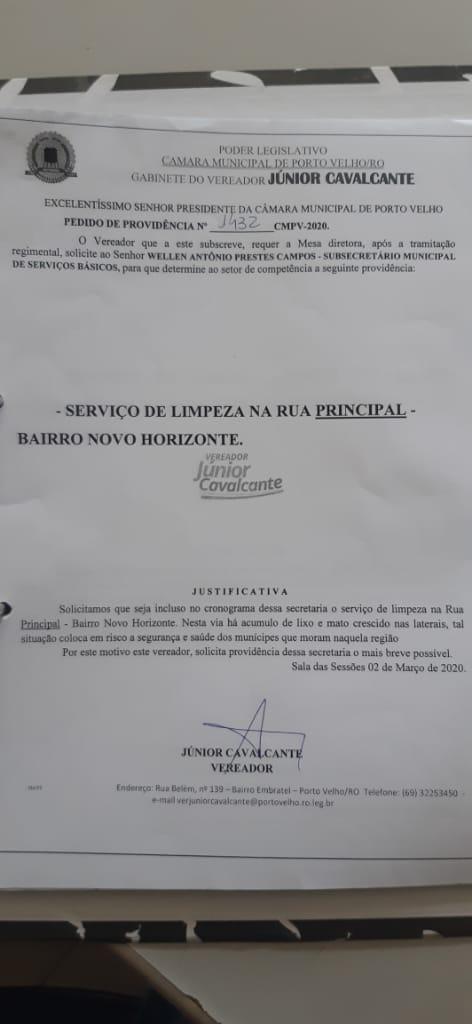 Vereador Júnior Cavalcante solicita limpeza e iluminação da rua principal no bairro Novo Horizonte