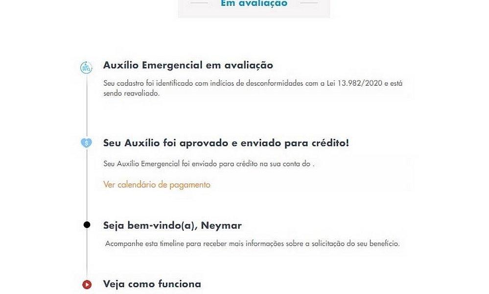 Neymar é registrado em pedido de auxílio emergencial e tem R$ 600 aprovado