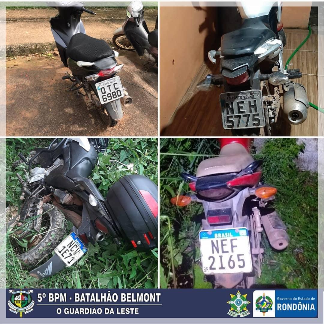 Polícia Militar recupera quatro motocicletas roubadas e prende foragido