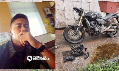 Jovem empresta moto CB 600 Hornet de amigo e morre após bater contra muro de residência em Porto Velho
