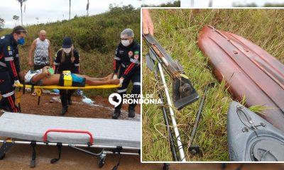 Caiaque desprende de carro na BR-319 e atinge motociclista que fica em estado grave