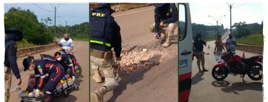 Motociclista cai do veículo ao bater em buraco na BR-364