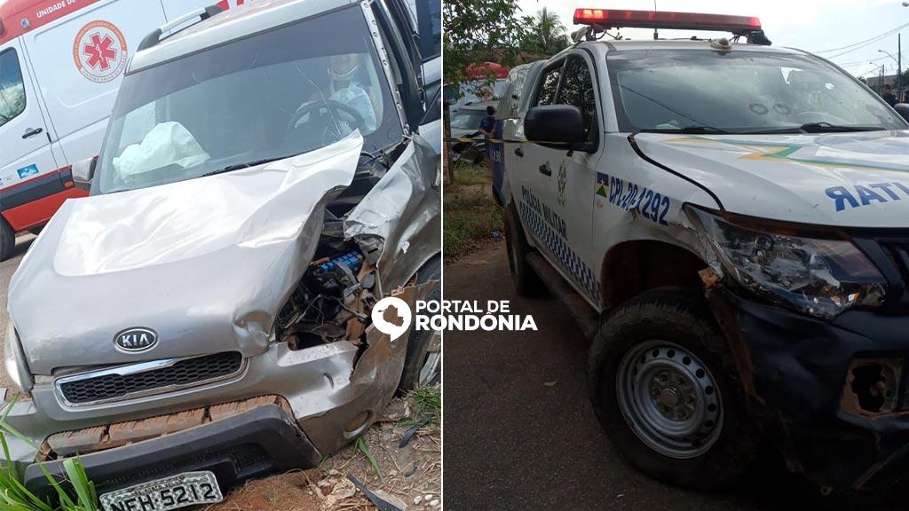 Motorista avança preferencial e bate na viatura da Polícia Militar