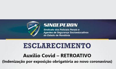 Singeperon informa sobre o pagamento retroativo do Auxílio Covid-19 aos Policiais Penais e Agentes Socioeducativos