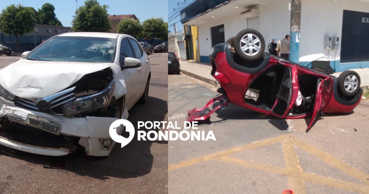 Carro capota após colisão e duas pessoas ficam feridas no centro de Porto Velho