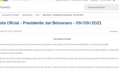 Presidente Bolsonaro divulga 'Declaração a Nação'; Leia na íntegra
